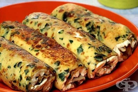 Бирени палачинки със спанак, сирена и гъби - изображение