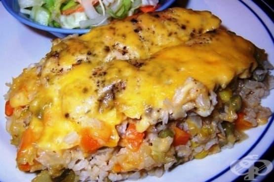 Оризова запеканка с пилешко, зеленчуци и гъби - изображение