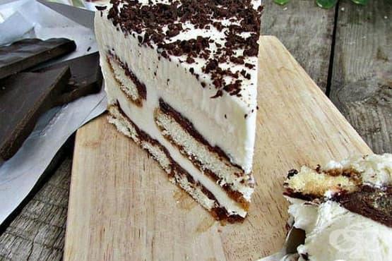 Сладоледена торта Тирамису с крем Ганаш - изображение