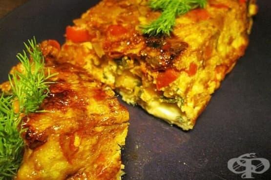 Печен омлет със зеленчуци, кашкавал и сметана - изображение