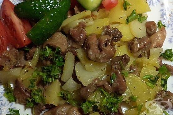 Пилешки воденички с картофи и босилек - изображение