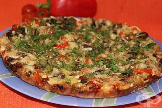 Омлет с колбас, гъби, зеленчуци и пармезан - изображение