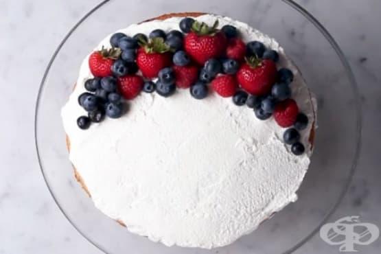 Лесна сметанова торта с кокосово мляко и плодове - изображение