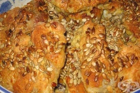 Панирани пилешки бутчета с мед и слънчогледови семена - изображение