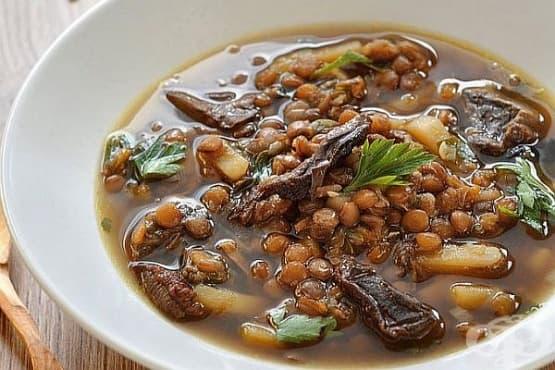 Супа от леща със сушени гъби и картофи - изображение