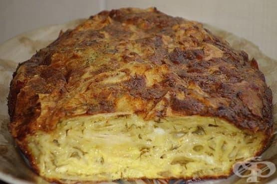 Късана баница от лаваш със сирене, яйца и прясно мляко - изображение