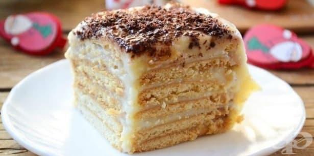 Бисквитена торта с млечен крем и шоколад - изображение