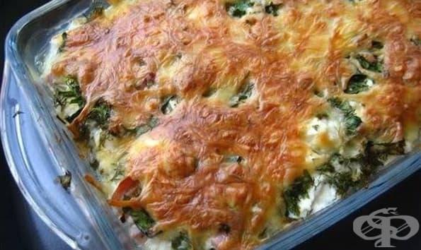 Броколи на фурна с картофи, прясно мляко, топено сирене и кашкавалена коричка - изображение