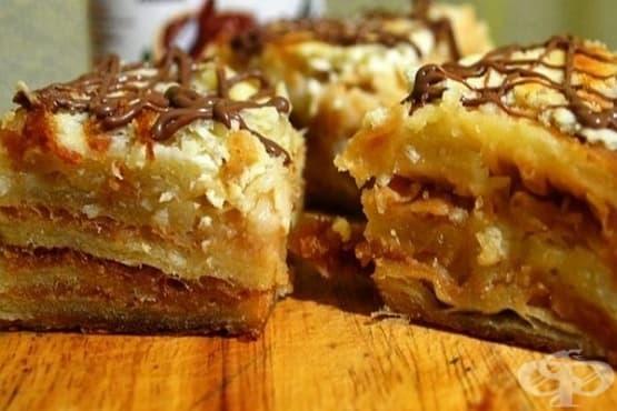 Бутер десерт с прясно мляко, кокос, сметана и ядки - изображение