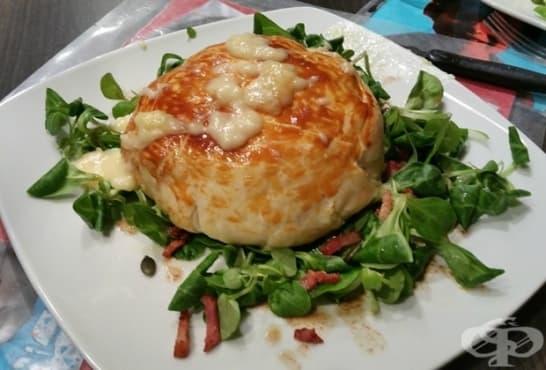 Бутер питки с картофено пюре, шунка и кашкавал - изображение