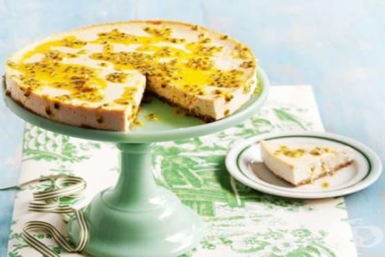Чийзкейк с тофу, бадеми и маракуя - изображение