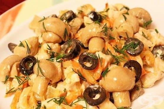 Гъбена салата с картофи, маслини и яйца - изображение