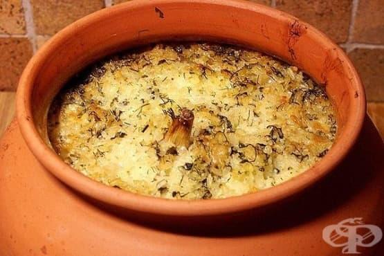 Гювечета от ориз с гъби, чесън и сметана - изображение