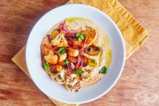 Хумус с препечени зеленчуци - изображение