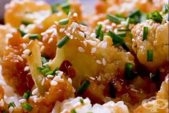 Печен карфиол със соев сос и сироп от агаве - изображение