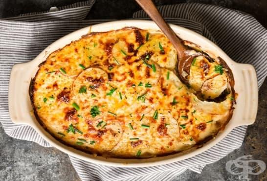 Картофи на фурна с горчица, сметана и кашкавал - изображение