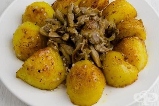 Пържени гъби и картофи в карамелена коричка - изображение
