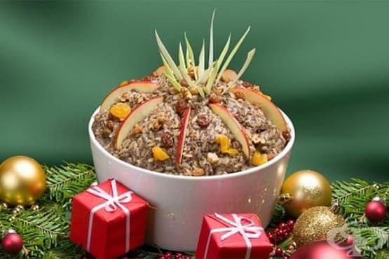 Каша от жито с халва, стафиди и орехи - изображение
