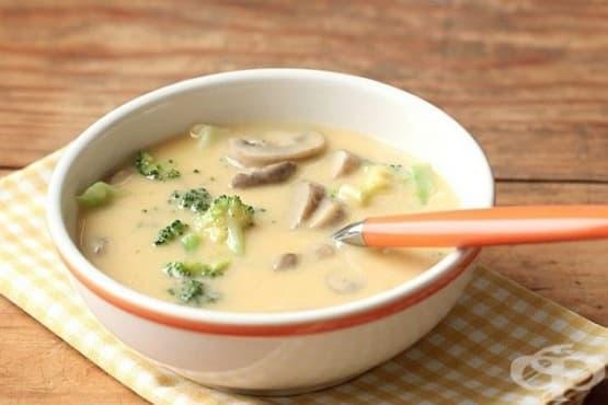 Крем супа от зеленчуци с пресни печурки и топено сирене - изображение