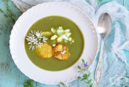 Крем супа от киселец, маточина, спанак и картофи - изображение