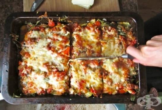Лазаня от тиквички с крема сирене, домати и кашкавал - изображение