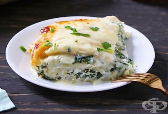 Лазаня с млечен сос, спанак и сирене - изображение