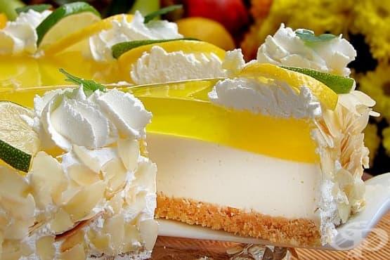 Лимонов чийзкейк с лешници (без печене) - изображение
