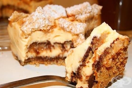 Лимонова торта с лешников блат (без брашно) - изображение