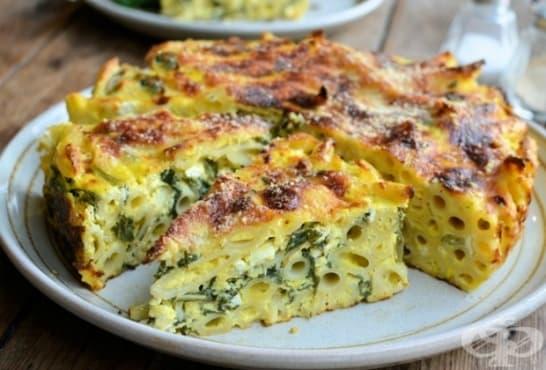 Торта от макарони със спанак, сирене и пармезан - изображение
