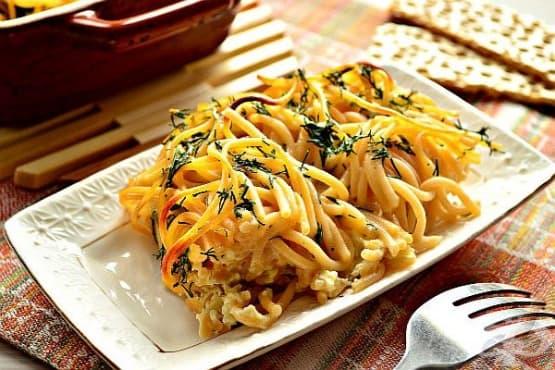 Запечени спагети със заливка от яйца и майонеза - изображение