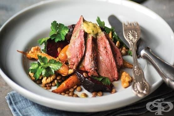Месо от кенгуру със зеленчуци и кафява леща - изображение