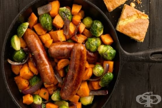 Наденички със сладки картофи и брюкселско зеле - изображение