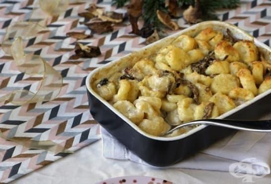 Огретен от картофени ньоки с гъби и сметана - изображение