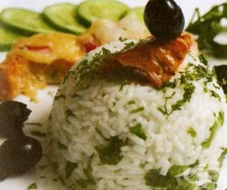 Ориз с билки и зелени подправки - изображение