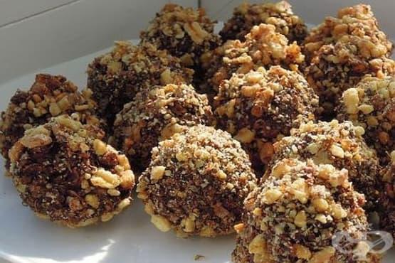 Овесени шоколадови бонбони с орехи - изображение