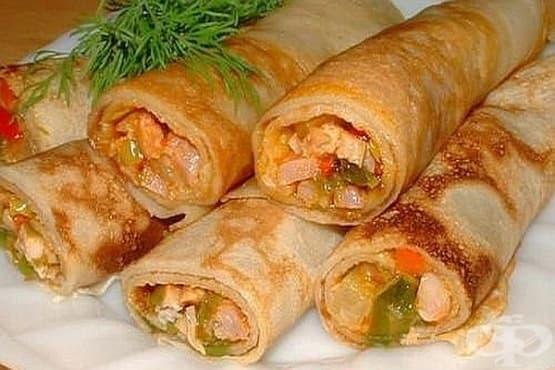 Палачинки с пилешко филе и кашкавал - изображение