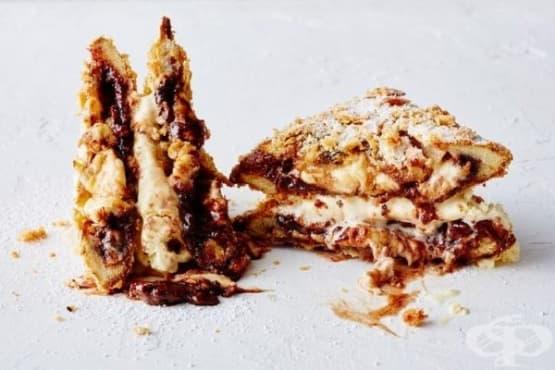 Пържени филийки с моцарела и шоколад - изображение