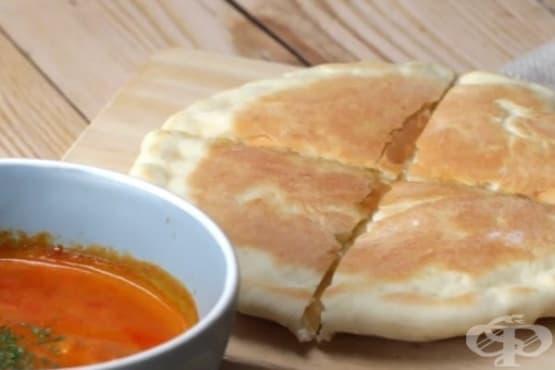 Хляб Наан с кашкавал на тиган - изображение