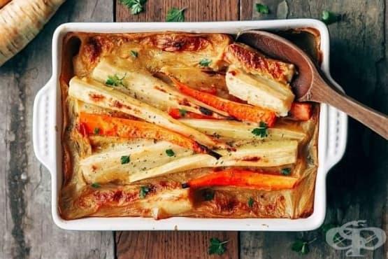 Печен пащърнак с яйца, зеленчуци и сирене - изображение