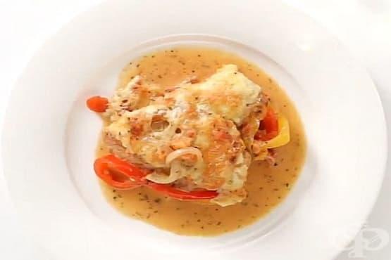 Пиле Пикасо (със зеленчуци, сметанов сос и кашкавал) - изображение