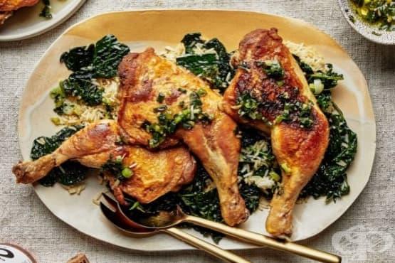 Пиле с ориз и кейл - изображение