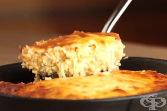 Запечено пилешко с ориз и моцарела - изображение
