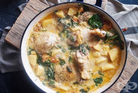 Пилешка яхния със спанак и картофи - изображение
