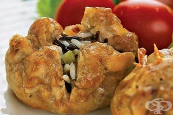 Пилешки пакетчета с бекон и ориз - изображение