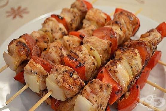 Пилешки шишчета с домати и лук - изображение