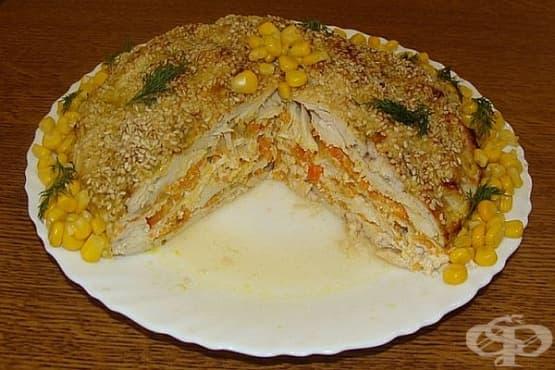 Печени пилешки гърди със зеленчуци и сусам - изображение