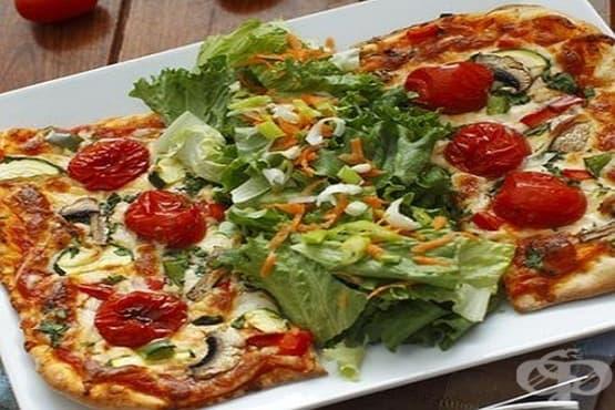 Зеленчукова пица с маслини и ориз - изображение
