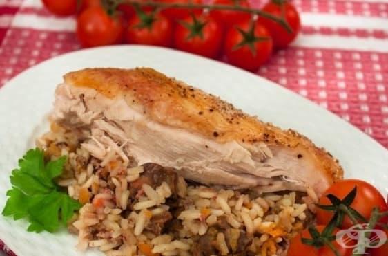 Пълнено пиле с дробчета и ориз (в ръкав) - изображение