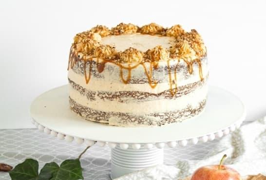 Маслена торта с орехи, карамел и ябълки - изображение