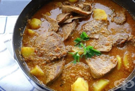Яхния с телешки език, картофи и зеленчуци - изображение